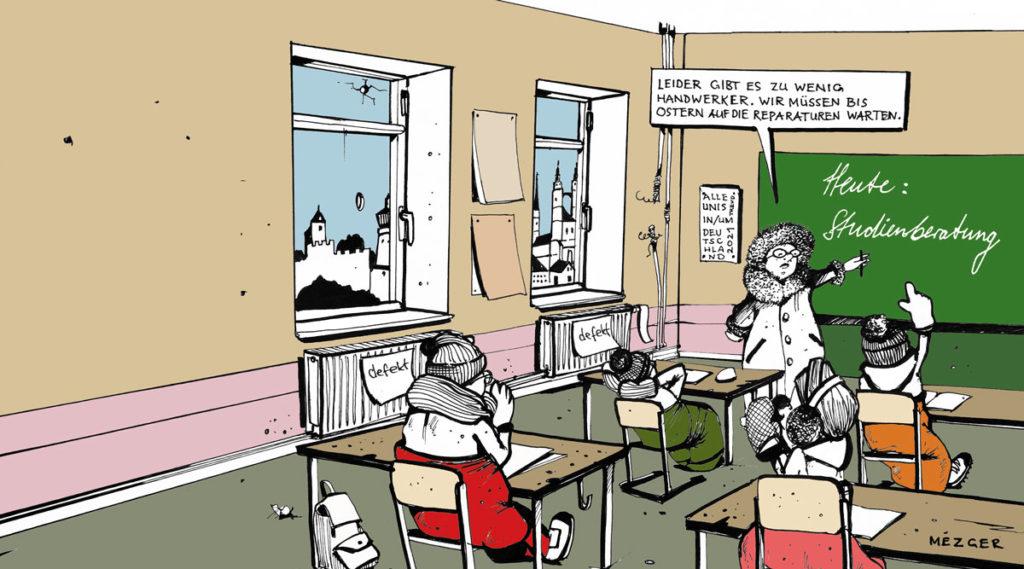 Karikatur Studienberatung in der Schule