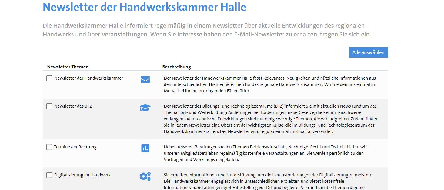 Screenshot Newsletterverteiler