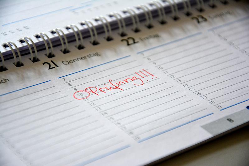 Prüfungseintrag in einem Terminkalender