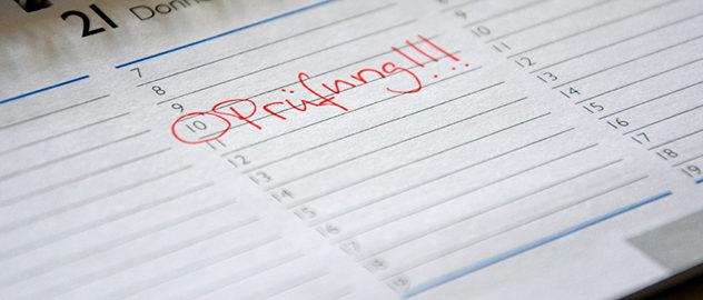 Im Kalender steht Prüfung